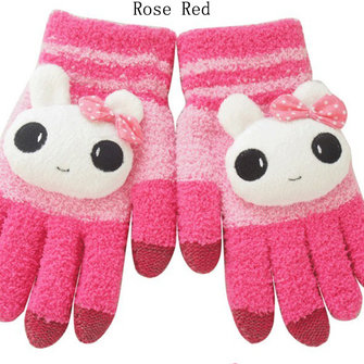 Young Girl Cartoon Touch Screen Knitted Thermal Gloves