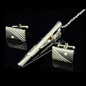 Men's Elegant Tie Clips and Cufflinks Sets Silver Business Gift