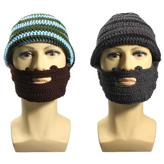 Men Unisex Knit Crochet Ski Beard Beanie Mustache Mask Face Cover Hat