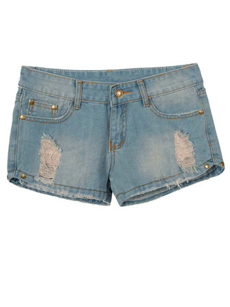 Women Retro Loose Hole Denim Shorts Hot Pants