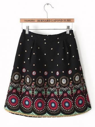 Positioning Printing Pattern Elastic Waist Skirt