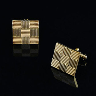 Men's Simple Lattice Gold Cufflinks Wedding Business Gifts