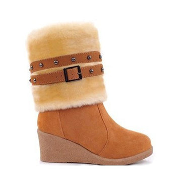 Wedge High Heel Multi Wear Belt Cotton Padded Mid Calf Snow Boots