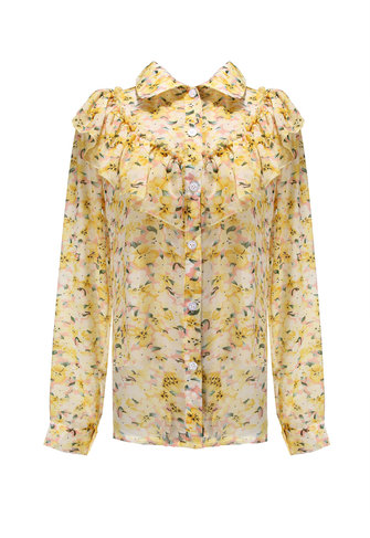 Women Flouncing Floral Puff Long Sleeve Chiffon Shirt