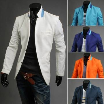Men's Fashion Hit Color Small Buckle Collar Design Basic Suit