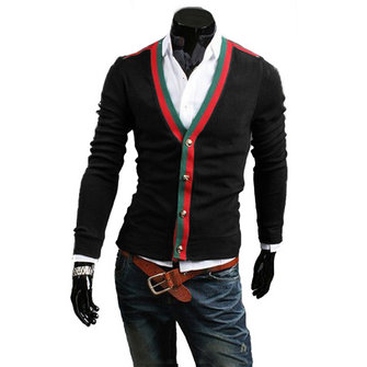 Stylish Mens Slim Fit Contrast Sweater Long Sleeves Cardigan Knitwear