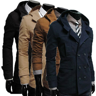 Men Double-Breasted Coat Hoodie Jacket Casual Windbreaker