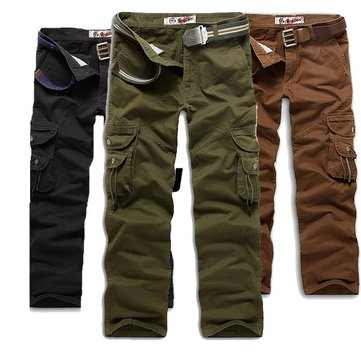 Mens Cargo Cotton Pants Multi Pockets Casual Pants Work Overalls