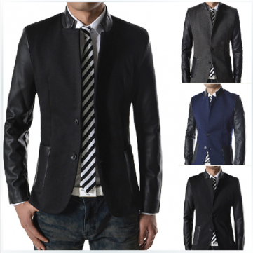 Mens Fashion Casual Lapel Suit PU Sleeve Coat