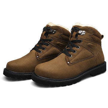 Mens Winter Warm Shoes Khaki Black Lace Up Boots