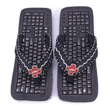 Black Keyboard Slippers Flip Flops
