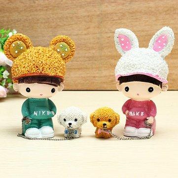 The Rabbit Hat Dog Doll Lovers Resin Handicraft Walk The Dog Doll