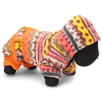 Folk Style Orange Colorful Velvet Jumpsuit Cat Dog Winter Coat