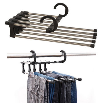 Stainless Steel Multifunction Retractable Trousers Hanger Jeans Holder