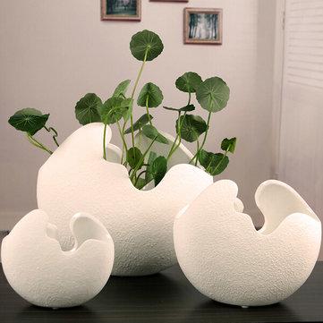Preferred Creative Ceramic Egg Shell Shaped Desktop Flower Pots Potted  KI53