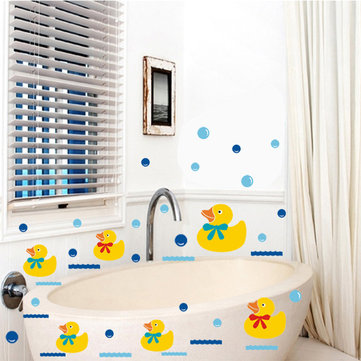 Vinyl Bathroom Wall Stickers Rubber Duck Family And Bubbles Decor