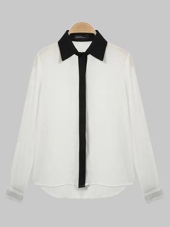 Women Elegant Lapel Long Sleeve Chiffon Blouse Shirt