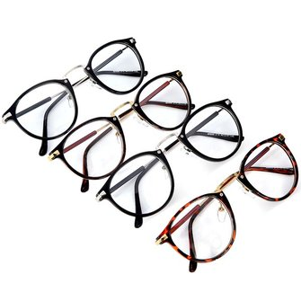 Women's Round Resin Lens Metal Frame Stylish Eyeglasses