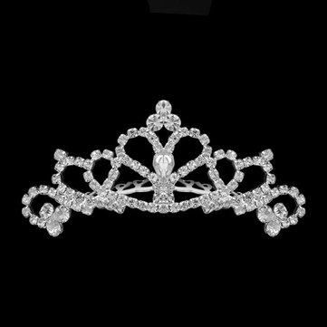 Girls Rhinestone Princess Crown Headbrand Tiara Hair Band