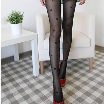 Sexy Transparent Cute Bowknot Jacquard Breathable Stockings
