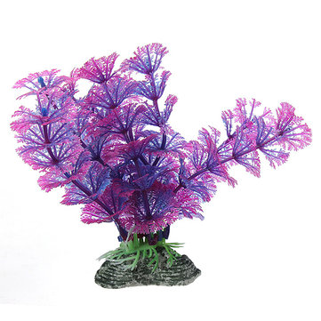 Aquarium Purple Blue Artificial Plastic Water Plant Decoration