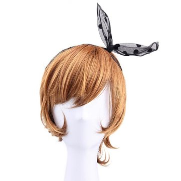 Black Dot Rabbit Ears Design Net Gauze Hair Band Hair Accessory
