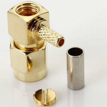 Brass RF SMA Male Right Angle Crimp Plug Adapter Connector
