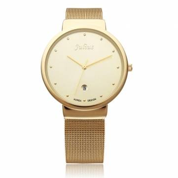 Julius JA-426 Gold Calendar Fashion Men Women Couple Wrist Watch