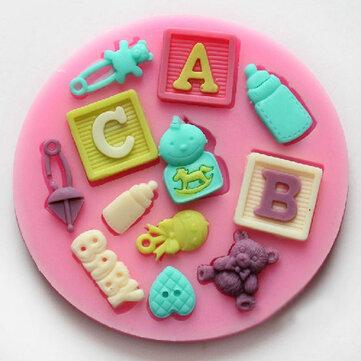 Silicone f0490 lettera bambino torta dell'orso decorazione muffa del fondente della muffa