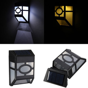 Solar Powered Wall Mount 2 LED Light Lamp Outdoor Garden Fence Path