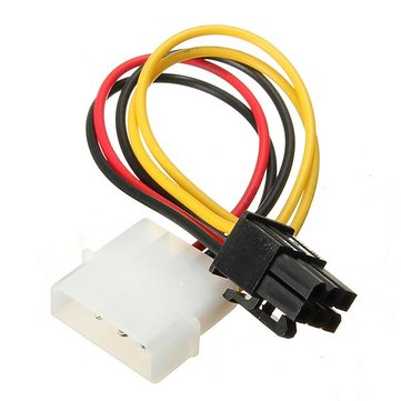 4 Pin to 6 Pin Express PCIE Video Card Graphics Adapter Cable
