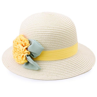Woman Floral Banded Wide Brim Contrast Color Straw Hat
