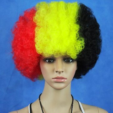 Belgium National Flag World Cup Fans Synthetic Cosplay Party Wigs
