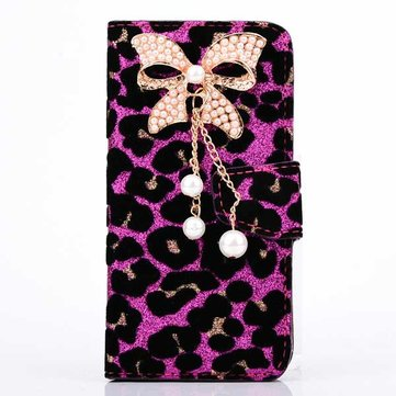 Leopard Grain PU Leather Protector Wallet Case Cover For iPhone 5 5S
