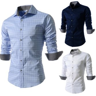 Mens Plaid Grid Printing Casual Slim Fit Long Sleeve Dress Shirt