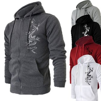 Mens Zipper Fashion Casual Printed Dragon Cardigan Hoodies