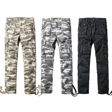 Mens Camo Cargo pants Casual Cotton Loose Sport Overalls