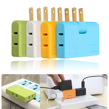 3in1 Outlet Power Converter Splitter Travel Rotate Charger Socket Adapter