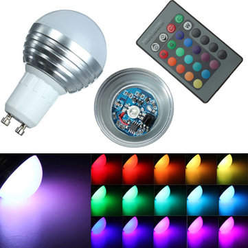 GU10 16 Color RGB 3W Remote Control LED Light Bulbs 85-265V