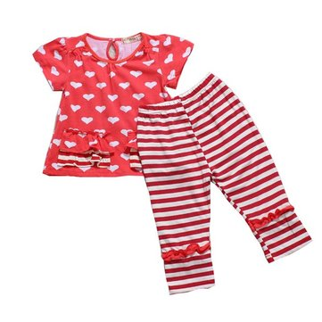 Baby Girls Red Hearts Top+Pants Striped Outfits Costume