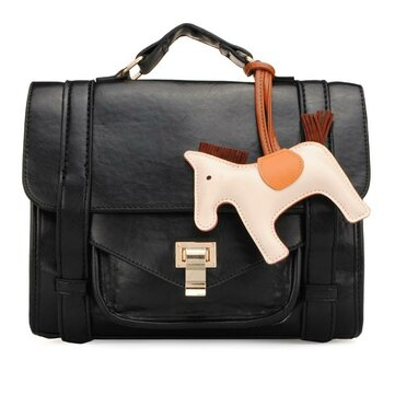 Women Leather Handbags Cartoon Horse Message Shoulder Bags Crossbody Bags