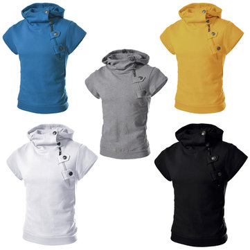 Mens Cotton Hooded Short Sleeved Solid Sweatshirts