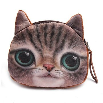 Cute Girls Cartoon Animal Cat Head Mini Purse Wallet Coin Bags