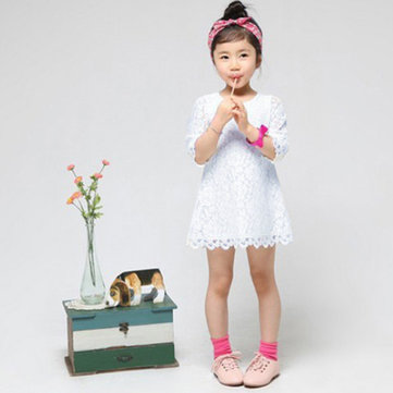 Children Girls Party Princess Solid Lace Dress Dresses