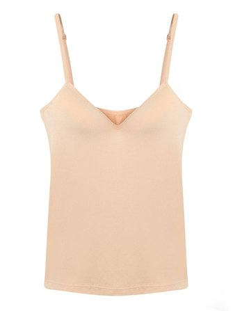 Women Solid Color Hollow Out Bra Vest Cotton V-Neck Tank Tops