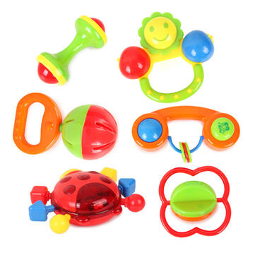 6pcs Multi Shape Baby Lovely Plastic Hand Shake Bell Ring Rattles Educational Toys