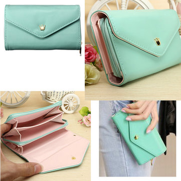 Universal 5.0 Inch Crown Envelop Flip PU Leather Wallet Case For Mobile Phone