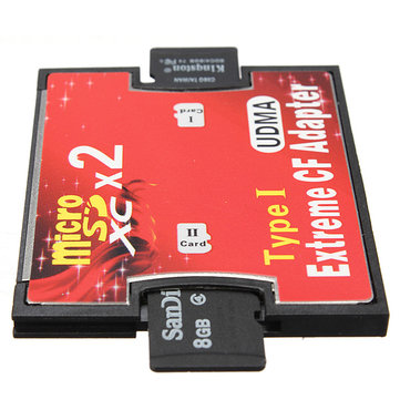 Dual Port Micro SD TF To Compact Flash CF Type I Card Reader Adapter