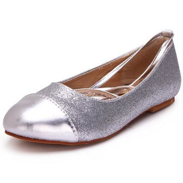 Glitter Shallow Mouth Latin Dance Lace Up Ballet Flat Casual Shoes