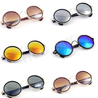 Women Men's Vintage Retro Round Golden Metal Mirrored Sunglasses